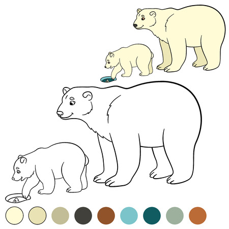 Coloring page. Mother polar bear with her little cute baby. Illustration