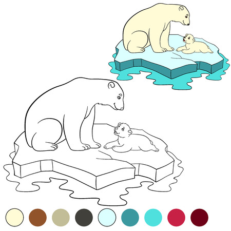 Coloring page. Mother polar bear sits on the ice-floe with her little cute baby and smiles.