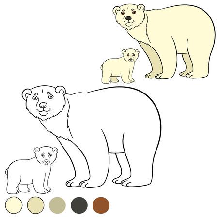 Dibujo Para Colorear. Madre Del Oso Polar Camina Con Su Pequeño Bebé ...