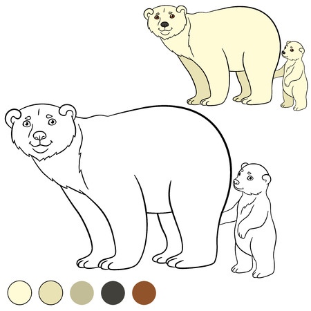 Animales Salvajes De Dibujos Animados. Madre Panda Rojo Con Su ...