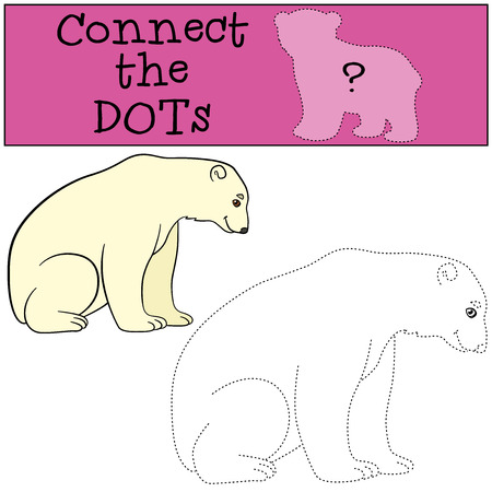 cite: Educational game: Connect the dots. Cite polar bear sits and smiles. Illustration