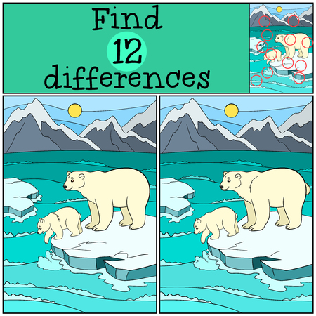 Educational game: Find differences. Mother polar bear stands on the ice-floe with her little cute baby and smiles.