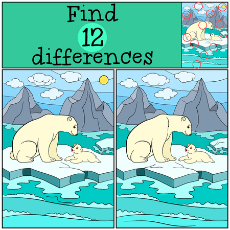 spot the difference: Educational game: Find differences. Mother polar bear sits on the ice-floe with her little cute baby and smiles. Illustration