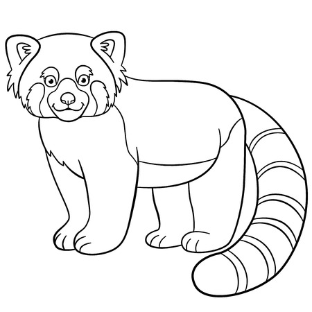 Coloring Book Or Coloring Picture Of Little Funny Panda On