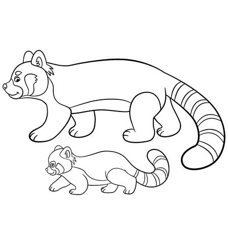 Páginas Para Colorear. Los Pequeños Paseos Lindo Panda Rojo Y ...