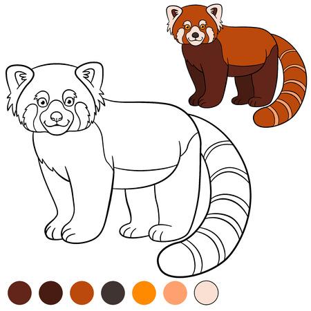 Dibujo Para Colorear: Panda Rojo. Dos Pequeños Osos Panda Lindo Rojo ...