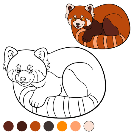 Coloring page: red panda. Little cute red panda with beautiful tail.
