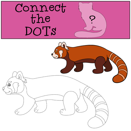 Educational game: Connect the dots. Little cute red panda walks and smiles. Illustration
