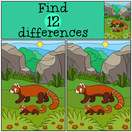 spot the difference: Educational game: Find differences. Mother panda walks with her little cute baby and smiles.