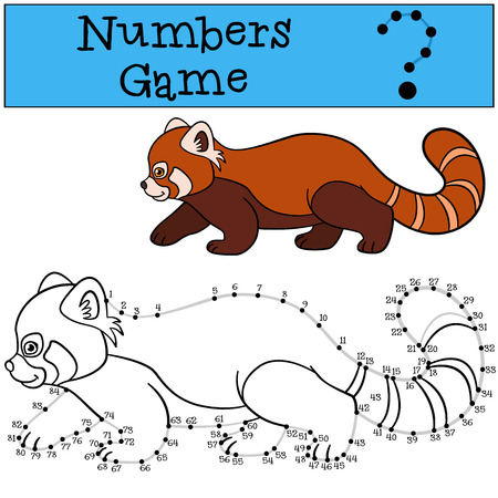Educational game: Numbers game with contour. Little cute red panda walks and smiles.