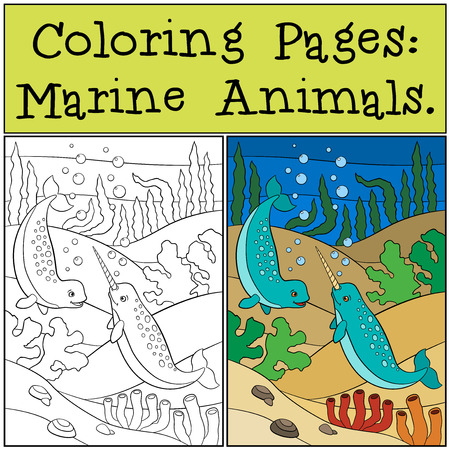 unicorn fish: Coloring Pages: Marine Animals. Two little cute narwhals swim underwater and smile.