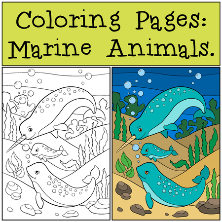 Unicorn fish: Coloring Pages: Marine Animals. Mother, father and baby narwhals swim underwater and smile.
