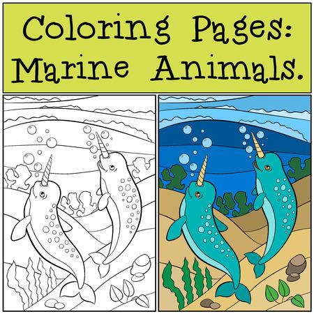 Páginas Para Colorear: Animales Marinos. Madre, Padre Y Bebé ...