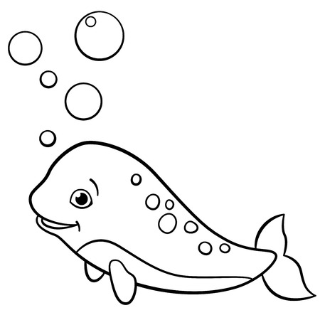 cartoon unicorn coloring pages coloring pages little cute baby narwhal swims and smiles - Cute Baby Unicorns Coloring Pages