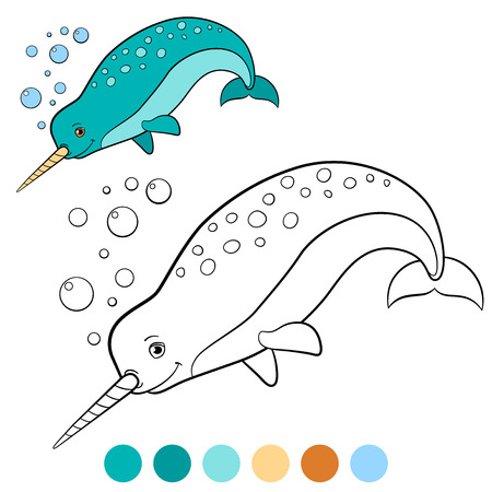 Unicorn fish: Coloring pages: narwhal. Little cute narwhal swims and smiles.