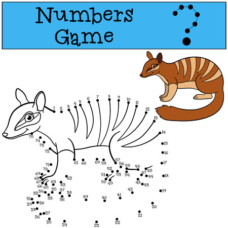 difficulties: Educational game: Numbers game. Little cute numbat sits and smiles. Illustration