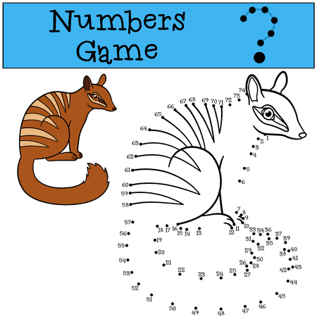 Educational game: Numbers game. Little cute numbat sits and smiles. Illustration