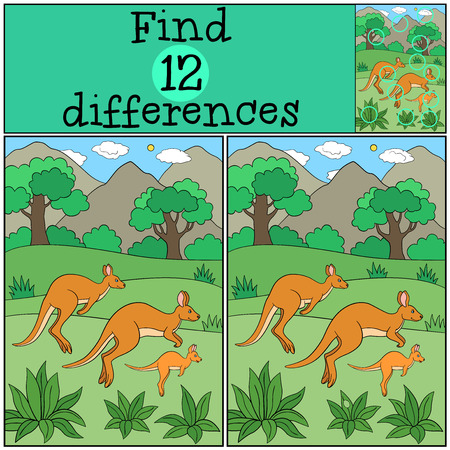 Educational game: Find differences. The kangaroo family runs.