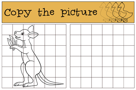 Educational game: Copy the picture. Little cute baby kangaroo smiles.