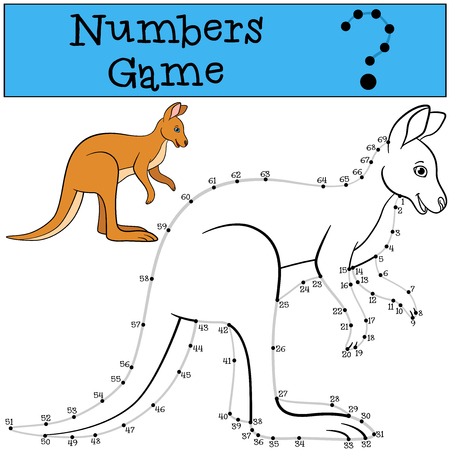 Educational game: Numbers game with contour. Little cute kangaroo smiles. Stock Illustratie