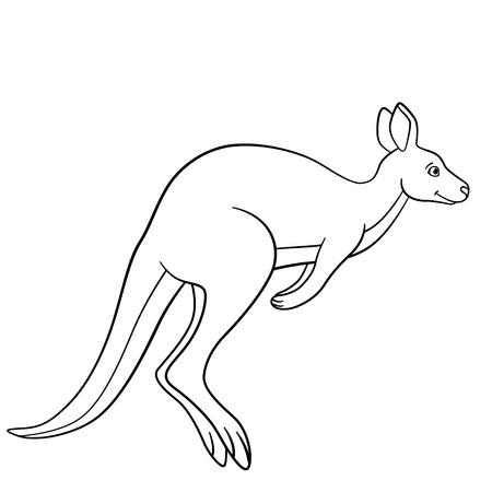 Coloring pages. Little cute kangaroo runs and smiles. Stock Illustratie