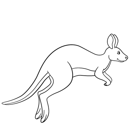 Coloring pages. Little cute kangaroo runs and smiles. Stockfoto - 112354196