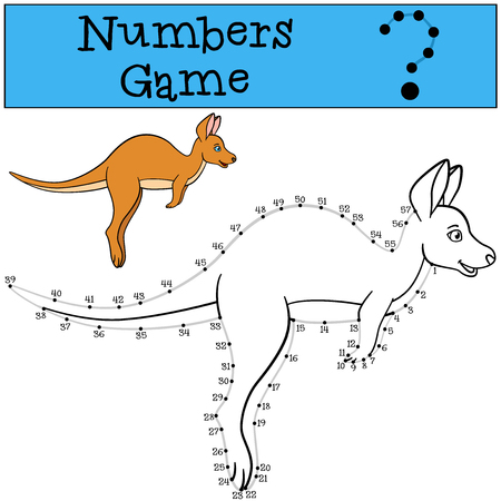Educational game: Numbers game with contour. Little cute kangaroo runs.