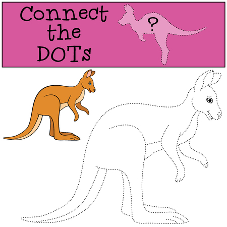 Educational game: Connect the dots. Little cute kangaroo smiles.  イラスト・ベクター素材