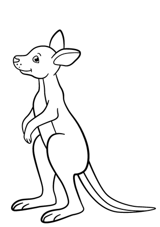 Coloring pages. Little cute baby kangaroo stands and smiles.