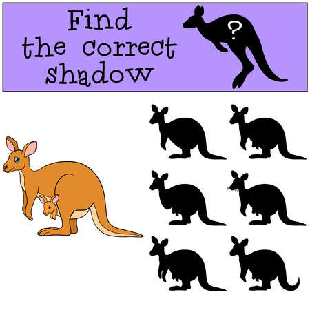 Educational game: Find the correct shadow. Mother kangaroo witn baby.