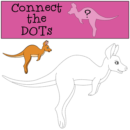 Educational game: Connect the dots. Little cute baby kangaroo runs.
