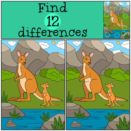 Educational game: Find differences. Mother kangaroo with her cute baby. Stock Illustratie