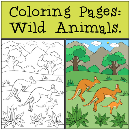Coloring Pages: Wild Animals. The kangaroo family runs and smiles.