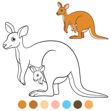 Color me: kangaroo. Mother kangaroo with her little cute baby. Stock Illustratie