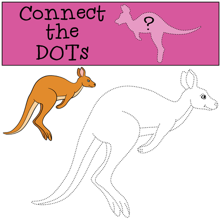 Educational game: Connect the dots. Little cute kangaroo runs.