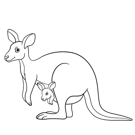 Coloring pages. Mother kangaroo with her little cute baby.