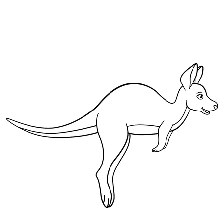 Coloring pages. Little cute baby kangaroo runs and smiles.