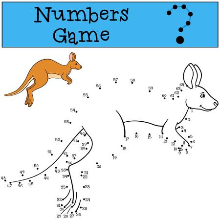 Educational game: Numbers game. Cute kangaroo runs and smiles. Çizim