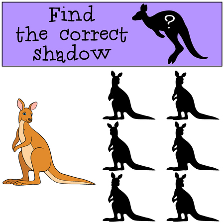 Educational game: Find the correct shadow. Little cute kangaroo smiles.