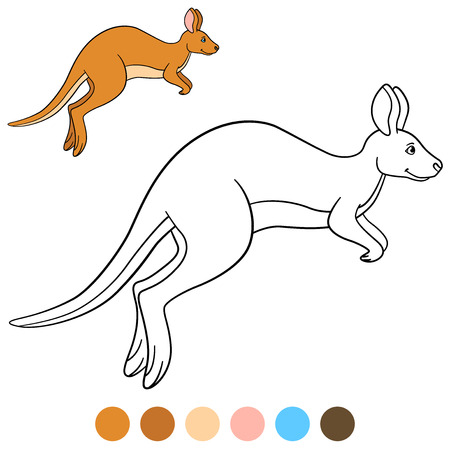 Color me: kangaroo. Cute beautiful kangaroo runs and smiles. Ilustracja