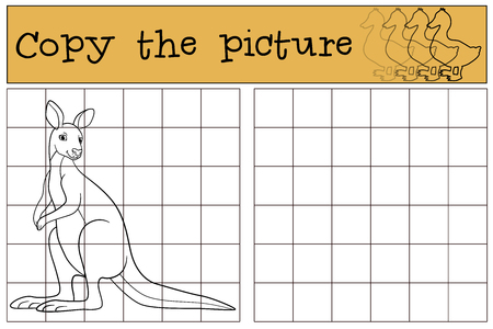 Educational game: Copy the picture. Cute kangaroo stands and smiles.
