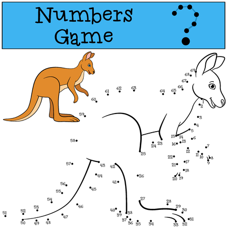 Educational game: Numbers game. Cute kangaroo stands and smiles. Stockfoto - 106903369