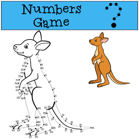 Educational game: Numbers game with contour. Little cute baby kangaroo. Stock Illustratie