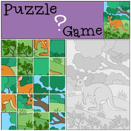 Education game: Puzzle. Mother kangaroo with her cute baby.