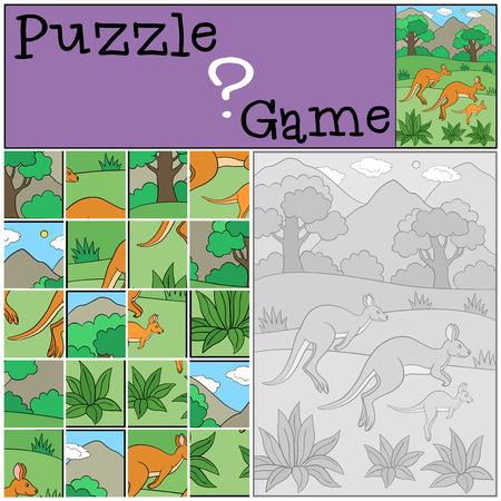 Educatief spel: puzzel. De kangoeroe-familie rent en lacht.