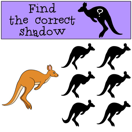 Educational game: Find the correct shadow. Little cute kangaroo runs. Stock Illustratie