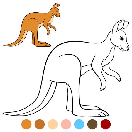 Color me: kangaroo. Cute beautiful kangaroo stands and smiles.