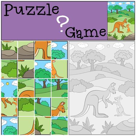 Lernspiel: Puzzle. Mutter Känguru mit ihrem süßen Baby.