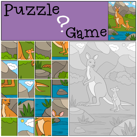 Education game: Puzzle. Mother kangaroo with her cute baby. Stockfoto - 106903407