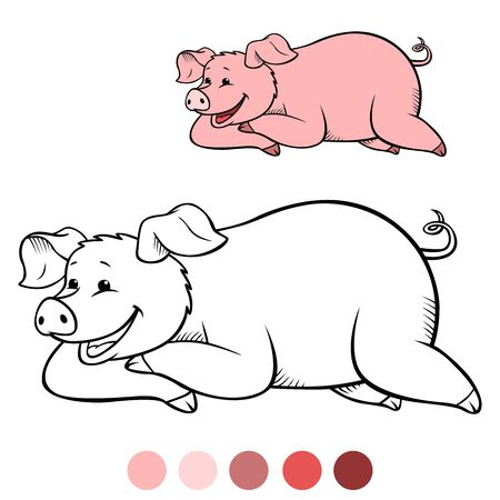Color me: Cute pig lies and smiles. Illustration